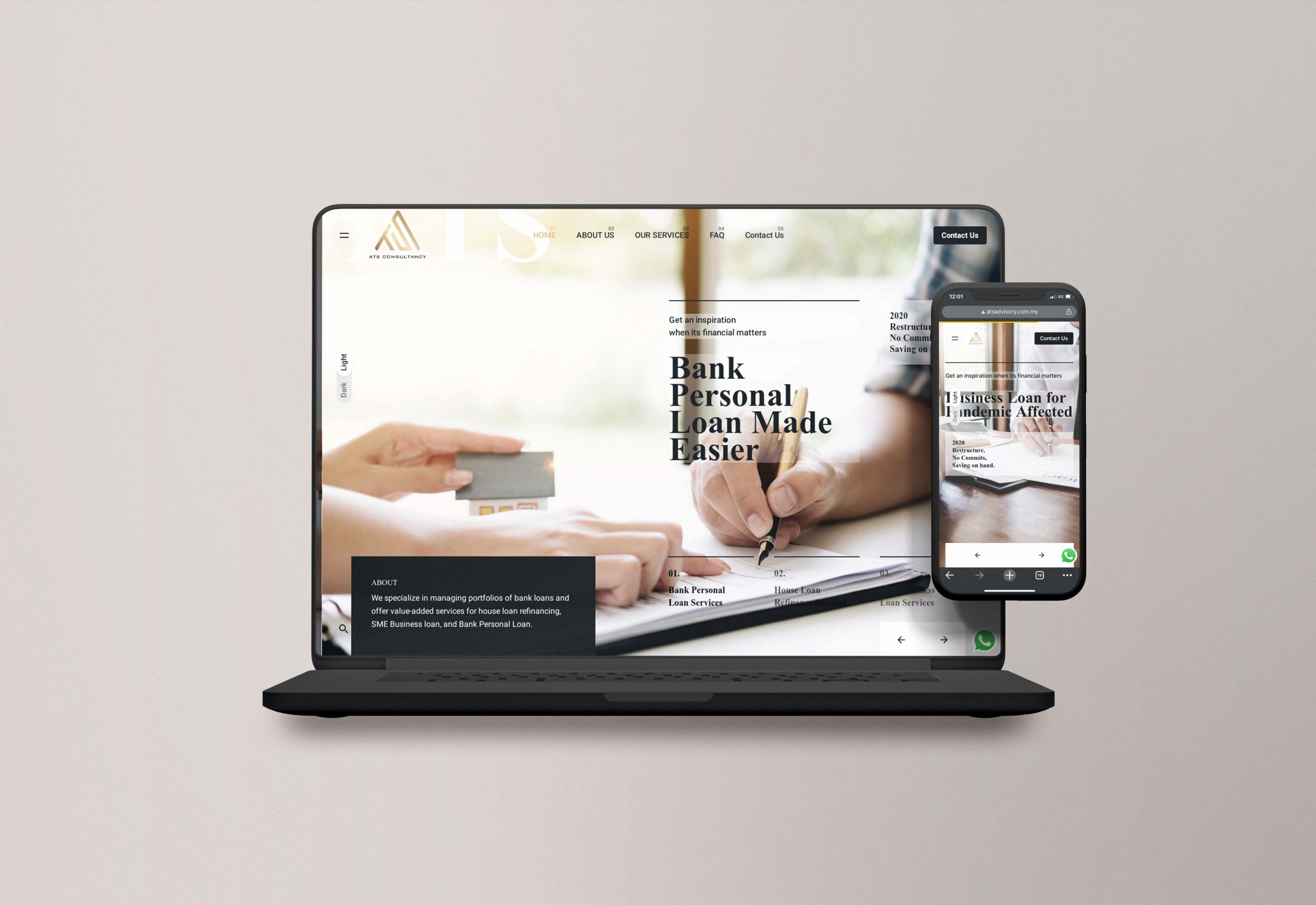 A financial firm website design mockup