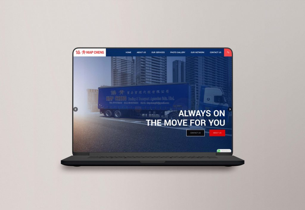 This is a website mock up for transportation and logistic company